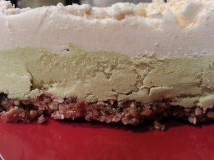 first piece of cococado lime pie
